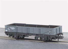 Model of the British Railways international ferry open tube wagon painted in goods grey livery.These long wheelbase open wagons were built for international services via the train ferry connections to mainland Europe.