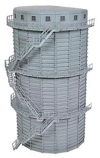 Scenecraft 44-211 00 Gauge Low Relief GasometerA detailed ready painted half-depth model of gasometer.This model is half-depth, designed to sit flat against a backscene as a lineside feature. If desired two can be placed back-to-back to create a full circular gasometer. 133mm x 66mm x 247mm