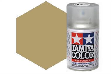 Tamiya TS68 Wooden Deck Tan Synthetic Lacquer Spray Paint 100ml TS-68These cans of spray paint are extremely useful for painting large surfaces, the paint is a synthetic lacquer that cures in a short period of time. Each can contains 100ml of paint, which is enough to fully cover 2 or 3, 1/24 scale sized car bodies.
