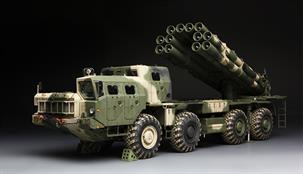Meng SS-009, 1/35 Scale Russian Long Range Rocket Launcher 9A52-2 SmerechDimensions - Length 351mm Width 88mm.The modelhas a movable suspension system. Two pairs of front wheels are steerable. Complete engine and transmission subassemblies are included. All hatch doors and windows can be built open or closed. The launch tubes can be elevated and rotated as on the real vehicle. Precision photo etched parts, vinyl parts and mirror film are included.Adhesive and paints are required to complete the model (not included).