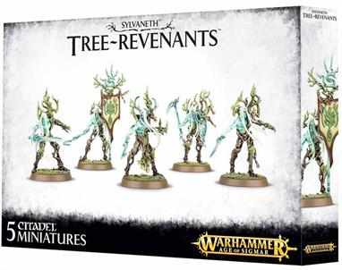 This multi-part plastic kit contains all the components necessary to assemble five Tree-Revenants, armed with a variety of enchanted blades (swords, scythes, an axe and a pick are included.) One model can be assembled as a Scion, wielding a Protector Glaive, one can be assembled as a Glade Banner and one can be assembled with Waypipes. Supplied with five Citadel 32mm Round bases.This kit can also be used to assemble five Spite-Revenants.