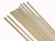 <b>Amati Lime Strip 0.6mm x 6mm. 1 metre length. Pack of 10<br></b>(Approx 20thou. x 1/4in.)<br><br>The timber of lime trees is soft, easily worked, and has very little grain, so it is a popular wood for model building and intricate carving. Ease of working and good acoustic properties also make it popular for electric guitar and bass bodies and wind instruments such as recorders. It is known in the trade as basswood, particularly in North America. This name originates from the inner fibrous bark of the tree, known as bast (Old English language). A very strong fibre was obtained from this, by peeling off the bark and soaking in water for a month; after which the inner fibres can be easily separated. This is one of the main attributes employed in model building, as when steamed lime can be bent to amazingly intricate shapes, even tied into knots.