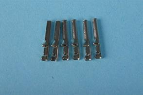 Hornby style Bullet pin connectors for wire termination. Ideal for use witrh Hornby point control levers and track feed connectors.