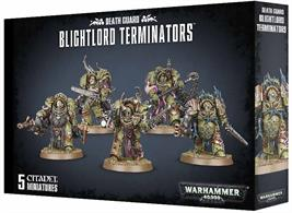 This multi-part plastic kit contains the components necessary to assemble a unit of 5 Blightlord Terminators.  The Blightlord Terminators come as 64 components, and are supplied with 5 Citadel 40mm Round bases.