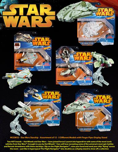 "Hot Wheels OO Star Wars Starship model MCGW52Star Wars Starship - Assortment of 12 - 5 Different Models with Finger Flyer Display Stand Two HOT brands -- Hot Wheels and Star Wars -- have joined forces! Launch into hyperdrive with some of the most iconic vehicles from Star Wars, brought to you by Hot Wheels. Fans will love recreating some of the universe's most epic battles and fiercest showdowns with these starships. Slip on the Flight Navigator, raise your hand and send your ship ""flying"" across the room -- just like in hyperspace! The Flight Navigator also doubles as a display stand to show off your collection"
