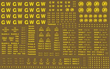 Modelmaster Decals MMGW302 00 Gauge GWR Yellow Coach and Wagon Lettering for 'Brown Vehicles'