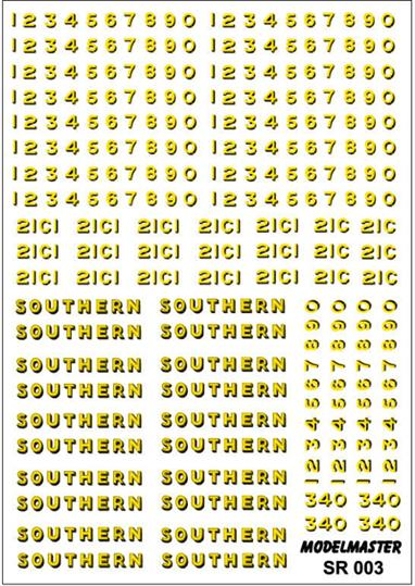 Modelmaster Decals MMSR003 00 Gauge Southern Railway Loco Lettering Bulleid Era Black LiveriesS.R. 1940-1947 Comprehensive sheet of Yellow & Green Transfers for BLACK Southern Railway Bulleid LocomotivesS.R. 1940-1947 Comprehensive sheet of Yellow & Green Transfers for BLACK Southern Railway Bulleid Locomotives. There are enough 'SOUTHERN' names to letter no less than ten locomotives. The sheet includes not only a good supply of digits 0 - 9, but Cs for Bulleid 0-6-0s, all with matching Buffer Beam Numbers.