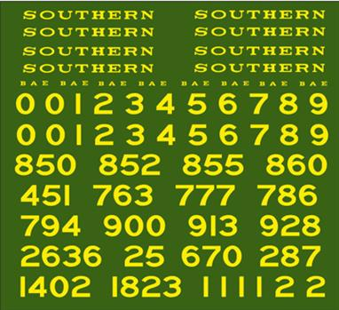 Modelmaster Decals MMSR001 00 Gauge Southern Railway Loco Lettering Maunsell EraS.R. 1923 - 1940 MAUNSELL Yellow Loco Tender & Tank Side Lettering & Numbering.S.R. 1923 - 1940 MAUNSELL Yellow Loco Tender & Tank Side Lettering & Numbering. Enough decals to completely letter and number EIGHT models. Includes ready made number sets and buffer beam numbering.