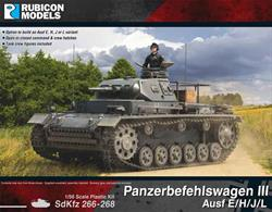 Detailed model kit for the German SdKfz266-268 series Panzerbefehlswagen Panzer III command tank with options to build Ausf E, H, J or L variants.Optional parts are supplied to model open or closed hatches and tank crew figures are included.