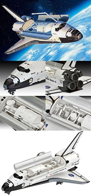 Revell 1/144 Space Shuttle Atlantis Kit 04544Length 252mmNumber of Parts 64Wingspan 167mmGlue and paints are required