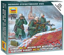 Zvezda 1/72 German Machine Gun with Crew Winter Uniform 6210