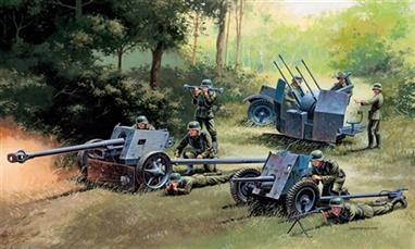 Italeri  7026 1/72 Scale German Guns Pak 35, Pak 40 & Flak 38 Set of 3.Scale models of 3 German guns used extensively in WW2. Decals and instructions included.Glue and paints are required to assemble and complete the model (not included)