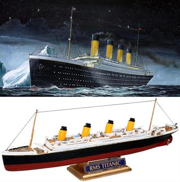 Revell 1/1200 RMS Titanic Minikit 05804Length 223mm    Number of Parts 40Glue and paints are required to assemble and complete the model (not included)