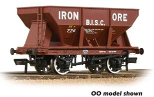 A new and detailed model of the BR 24-ton iron ore hopper wagon painted in red livery and marked for BISC, the British Iron & Steel Corporation.Due to the density of iron ore these hopper wagons look quite small for their capacity, but could easily be fully loaded by weight before the load reached the top of the hopper.Eras 4 & 5