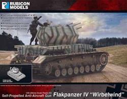Model kit of the Wirblewind Flakpanzer self-propelled anti-aircraft gun, comprising a 4-barrel quad Flak 38 20mm mounting on a Panzer IV chassis. The kit includes a choice of 2 barrel types and two fixed elevation poses for the weapons.