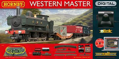 Hornby OO The Western Master Train Set DCC R1173A superb introduction set to the incredible world of computer control by Hornby.  This set includes the amazing 'eLink' digital unit which when connected to a PC or laptop and with the 'RailMaster' software loaded provides control access to 9999 locomotives and in excess of 2000 electrical accessories and points.