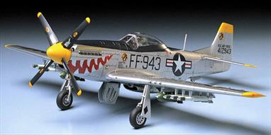 "Tamiya 1/48 F-51D Mustang Korean War Fighter Aircraft Kit 61044After WWII it appeared that the North American P-51D's days in front line use were limited because of the advent of the jet age. The conflict in Korea brought the aircraft out of reserve and back into action but as the F-51D. Tamiya's rendition of the Mustang builds up into an impressive, highly detailed 1/48th scale replica with accurate interior and exterior detail. High quality water activated decals are included for three aircraftWingspan: 9-1/4"" (23.6cm). Fuselage Length: 8"" (20.5cm)Glue and paints are required"