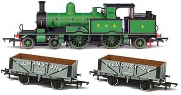 Model of East Kent Railway 5, an ex-LSWR Adams radial 4-4-2 tank engine supplied with a short train of goods wagons.