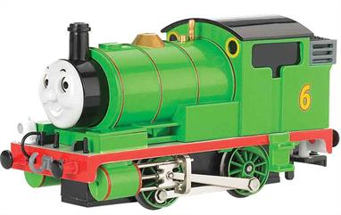 Percy is a green four-wheeled (0-4-0 Tank) steam engine with the number 6 painted on his coal bunker.  Percy first appeared in 1950 in the 5th book in Reverend Wilbert Awdry's The Railway Series, entitled 'Troublesome Engines,' and was given his own book, No.11, 'Percy the Small Engine.' He frequently works with Troublesome Trucks.