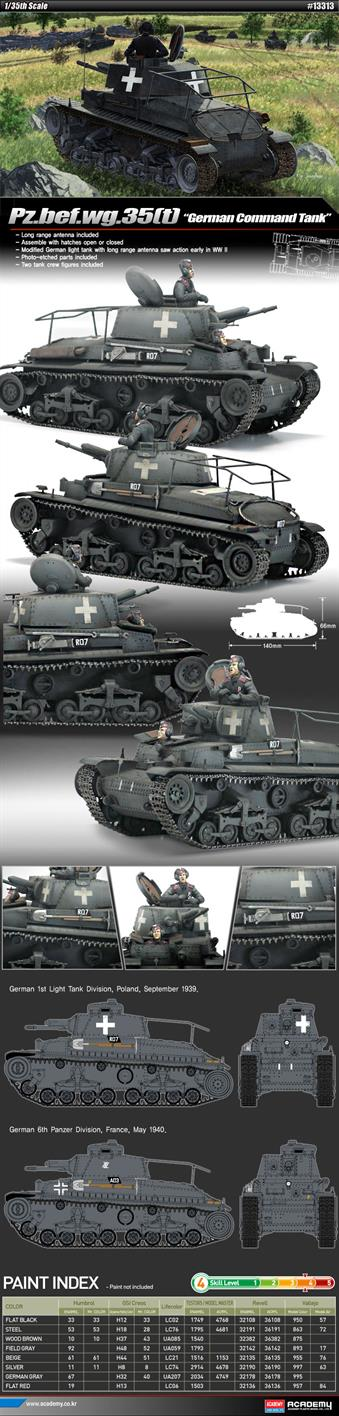 Academy 1/35 German PzBfwg 35t Command Tank Kit 13313Academy 13313 a 1/35th plastic kit of a German WW2 PzBfwg 35t Command Tank KitGlue and paints are required to assemble and complete the model (not included)