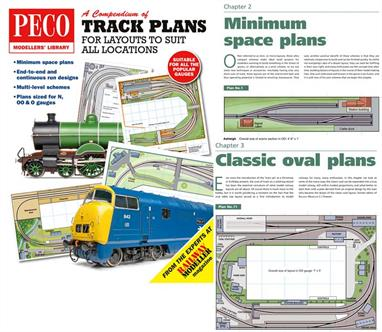 Peco Modellers Library PM-202 Compendium of Track Plans for Layouts to Suit All LocationsModellers love track plans, so this new book written by the experts at Railway Modeller, will provide plenty of inspiration and ideas.This 62 page perfect-bound book contains plans for all kinds of situations, including simple ovals and minimum-space plans to large continuous-runs and multi-level layouts. In total there are 50 plans, catering for N, OO and O scales. All plans are in full colour, with plenty of layout and prototype photos to inspire.