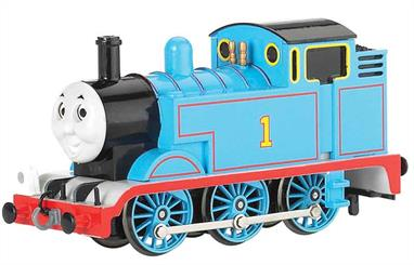 Thomas is a blue six-wheeled (0-6-0 Tank) steam engine with the number 1 painted on his side tanks.  Thomas first appeared in 1946 in the 2nd book in Reverend Wilbert Awdry's The Railway Series, entitled 'Thomas the Tank Engine,' and he is the principal character in the 4 stories contained in the book. Thomas's best friends are Percy and Toby.  He works on a branch line with his coaches Annie and Clarabel.