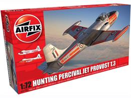 Airfix A02103 1/72nd Hunting Percival Jet Provost T3 Trainer Aircraft KitNumber of Parts 45  Length 137mm  Width 156mm