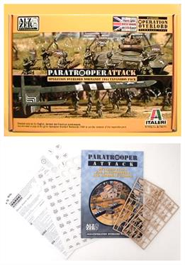 The set contains 48 US Paratroops (unpainted), a set of markers and the paratroop attack rule book expansion for use wih the Operation Overlord rules. The paratroop attack rulebook provides detailed engagement rules for British, German and US paratroops and includes 9 scenarios based on historical events. You will need the Operation Overload rule book and some items supplied with the Operation Overlord box set, for which this is an expansion set.