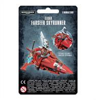 This multi-part plastic kit contains everything required to make one Aeldari Farseer Skyrunner or Aeldari Warlock Skyrunner. Sleekly designed for speed and manoeuvrability with elegant fins and a beautifully-embossed carapace, the Skyrunner includes two different HUD units. Armament-wise, the Skyrunner features a twin-linked shuriken catapult, while the Farseer has two weapon options available - a witchblade or singing spear. Inside the box, you'll find twenty-five parts to assemble, and the kit is supplied with one small flying base.