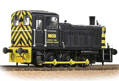 Bachmann have announced that an 03 shunter in NCB livery will be joining the range, partially in place of the 04 originally planned. This locomotive is painted in a plain black livery with end wasp stripes for visibility. D2199 was sold to NCB in 1974 after being overhauled and fitted with air brakes, required for shunting the HAA hopper wagons used on merry-go-round power station coal trains. The locomotive worked at Rockingham, North Gawber and Royston until being placed into store at Monkton in 1984. Purchased for preservation by the Heritage Shunters Trust D2199 was returned to BR green livery D2199 has also seen further commercial service on hire to Hanson Aggregates Machen Quarry (Newport) during the mid-2000s. Era 6/7 1967-1982.DCC Ready. 6 pin decoder required for DCC operation.