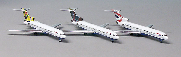 Gemini Jets 1/400 727-200 British Airways 3 Piece Set GJBAWSET3<br>Three 727 Registration Numbers ZS-OBM / ZS-OBO / ZS-NOU