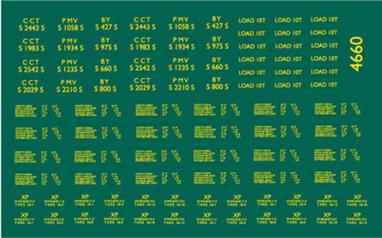 Modelmaster Decals MM4660 00 Gauge Britsih Railways Lettering for ex-SR BY, PMV & CCT Luggage VansBR (ex Southern Railway) BY, PMV & CCT vans. YELLOW.