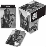 Top loading Deck Box with full flap cover. Holds 82 cards in Ultra PRO Deck Protector sleeves. Acid free, durable polypropylene material and includes one matching divider. Features Michonne from AMC's The Walking Dead.