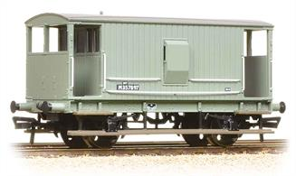 A detailed model of the early LMS standard design of goods brake van, a direct development of the last Midland Railway design. These vans were built with and without side lookout duckets, both styles remaining in service into the 1960s.This model of a van with lookout duckets is painted in the British Railways goods grey livery.