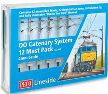 "Peco LC-100 OO Catenary System Mast Pack12 assembled masts, 12 registration arms, 2 x installation jigs and a ""Shows You How"" installation guide.Peco have produced this catenary system in collaboration with specialist model catenary manufacturer Sommerfeldt in Germany. The system have been designed to recreate British 25kv overhead line equipment (OHLE) masts and fittings at true 4mm scale, exclusive Peco for the British market.These are not a re-branded continental prototype product."