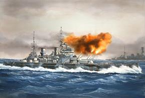 Revell Brings you 05135 a 1/1200th Scale plastic kit of the World War 2 British battleship HMS Prince of Wales that was present at the sicking of the Battlecruiser Hood and was sunk near Malaya a year later by Japenese Aircraft.Glue and paints are required
