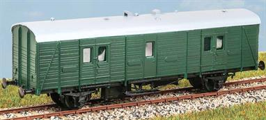 Introduced in 1937, these vans (diagram 3092) were used for parcel and mail traffic on branch or mainline trains. In service until the late 1970s. These finely moulded plastic wagon kits come complete with pin point axle wheels and bearings.Glue and paints are required to assemble and complete the model (not included)