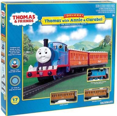 Thomas and his loyal coaches Annie and Clarabel are carrying a number of very important passengers, and you're invited in join in their travel fun! This OO scale electric train set is the perfect way to begin a Thomas & FriendsTM collection.