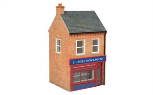 Ready painted cast esin shop building finished as E L Sole Newagents.