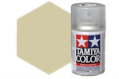Tamiya TS75 Gold Spray Synthetic Lacquer Champagne 100ml TS-75These cans of spray paint are extremely useful for painting large surfaces, the paint is a synthetic lacquer that cures in a short period of time. Each can contains 100ml of paint, which is enough to fully cover 2 or 3, 1/24 scale sized car bodies.