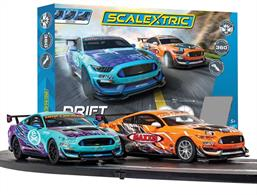 This set has everything you need to get racing, including two crash resistant cars that feature fully swiveling guide blades that allow 360degree movement, two easy speed limiting hand controllers plus 3.6metres of track complete with borders to add to the exciting drifting element of this race set. This Scalextric track layout can be added to with other Scalextric track pieces to increase in size and add other features.