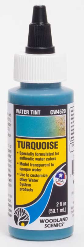 "<P><B>Woodland Scenics CW4520 Water Tint - Turquoise<BR></B></P>Specially formulated to represent authentic colours on the Forel-Ule Scale, Water Tints can be added to Deep Pour Water, Surface Water, and Realistic Water to model any aquatic ecosystem. Water Tints are great for any scene, from translucent to opaque waters, and everything in between. Create customized colours by mixing Water Tints and White Water Highlights together.<BR><BR><A href=""http://woodlandscenics.woodlandscenics.com/show/category/Water"">Further information and demonstration videos can be found on Woodland Scenics website.</A>"