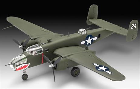 Simple model kit of the B-25 Mitchell, a 2-engine bomber of the USAAF. Number of parts:44, Length:223 mm, Height:65 mm, Wingspan:286 mm