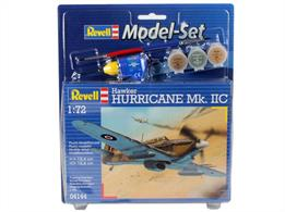Revell 1/72 Hawker Hurricane MK11C Model Set 64144Length 134mm	Number of parts 53		Wingspan 166mmComes with glue and paints to assemble and complete the model.