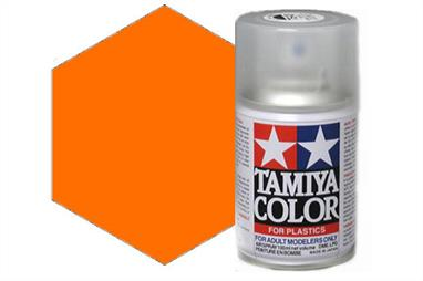 Tamiya TS73 Clear Orange Synthetic Lacquer Spray 100ml TS-73These cans of spray paint are extremely useful for painting large surfaces, the paint is a synthetic lacquer that cures in a short period of time. Each can contains 100ml of paint, which is enough to fully cover 2 or 3, 1/24 scale sized car bodies.
