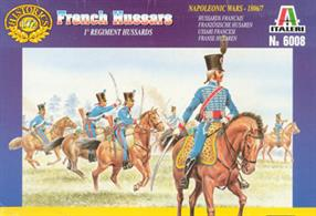 Italeri 1/72 French Hussars Plastic Figures 6008Box contains 17 unpainted figures and horses in different poses.