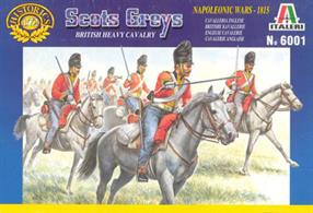Italeri 1/72 Scots Grey British Heavy Cavalry Plastic Figures 6001Box contains 18 mounted figures and horses in different poses.