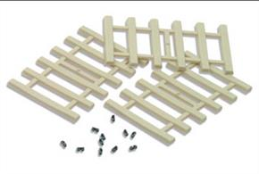Peco OO Concrete Sleepers IL-121Short sections of concrete sleepers with rail fixings suitable for hand-built track and to in-fill gaps at joints etc.96 sleepers with 200 separately moulded rail fixings, 32mm x 3.5mm (base), 3mm (top). Moulded in realistic concrete colour plastic, the rigid six-sleeper units enable straight track to be accurately and easily laid. For curved track simply cut the webs joining the sleepers on the side. The separate rail fixings are moulded in brown plastic and slide onto the Code 82 Flat bottom rail(IL-115).