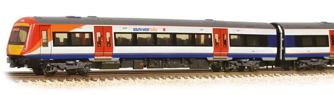 2-car class 170 'Turbostar' diesel multiple unit train in SouthWest Trains livery.