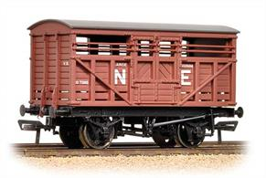 10-ton cattle wagon in LNER bauxite livery lettered NE.